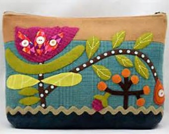 Wild tulip Sac Pattern, by Sue Spargo Wool Applique - Quilting - Sewing Project