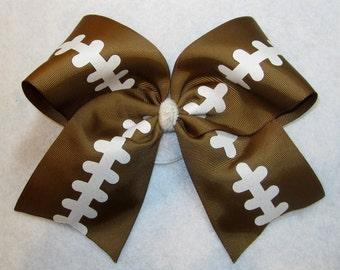 Cheer Bows, Football Cheer Bow, Brown Cheer Bows, Sports Cheer Bow, Team Bows, Dance Bows, Cheerleader Hair Bows, 7 inch bows, NFL Hairbows