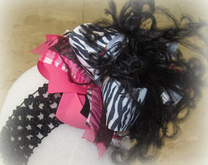ZEBRA Over the Top Bow, Big baby Headband, Large Ostrich Feather Hair Bow, Boutique Pageant Hairbow, Pink Zebra Bow, Black OTT Bows