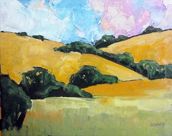 Impressionist Painting Plein Air California Landscape PASO ROBLES Hills Lynne French 16x20