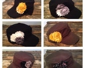 Pick one or more of these adjustable, distressed hats. They have 4 shabby flowers on each.   Put hat choices in the comments sections.