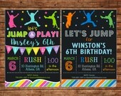 Boy or Girl Jump Trampoline Bounce House Inflatable Party Birthday Invitation - DIGITAL FILE