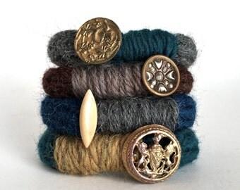 Knitted Vintage Button Bracelet