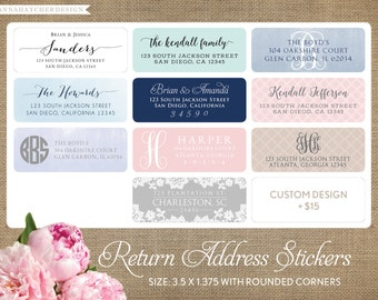 Return Address Labels, Return Address Stickers, Rectangle, Rounded Corners, Any Color and Font, Custom Design, Custom Address Labels