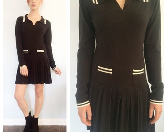 Vintage 90s Black Pleated Mini Sweater Dress