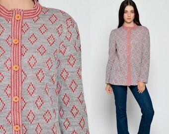 Geometric Shirt 70s Knit Top Bohemian Shirt DIAMOND PRINT 1970s Striped POCKET Hippie Long Sleeve Button Up Boho Grey Red Large
