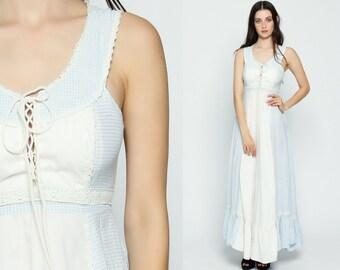 Gunne Sax Dress 70s Maxi Sundress Prairie GINGHAM Bohemian Checkered Plaid Lace Up 1970s Boho Hippie Sun Blue Pastel Vintage Extra Small xs