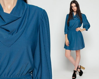 Cowl Neck Dress 80s Mini Striped Secretary PUFF Sleeve 1980s Long Bohemian High Waisted Blue Pinstripe Boho Preppy Drape Large