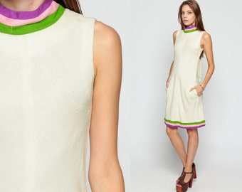 60s Shift Dress Mini LINEN Off-White Mod Ringer A Line 1960s Twiggy BOW Sleeveless Vintage Striped Sixties Retro Gogo Minidress Small Medium