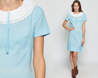 60s Mod Dress RUFFLE COLLAR Mini Polka Dot Baby Blue 1960s Shift Vintage Twiggy Short Sleeve Sixties Minidress Pastel White Medium Large