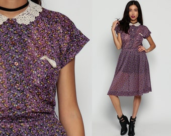 Sheer Dress 70s PETER PAN Collar Lace FLORAL Midi Cap Sleeve Button Up High Waisted 1970s Boho Vintage Secretary Purple Medium Large