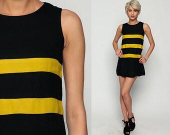 60s Mini Dress Mod STRIPED Shift Pleated Scooter 1960s Vintage Black Yellow Gogo Twiggy Sleeveless Sixties Minidress Bumble Bee Small xs