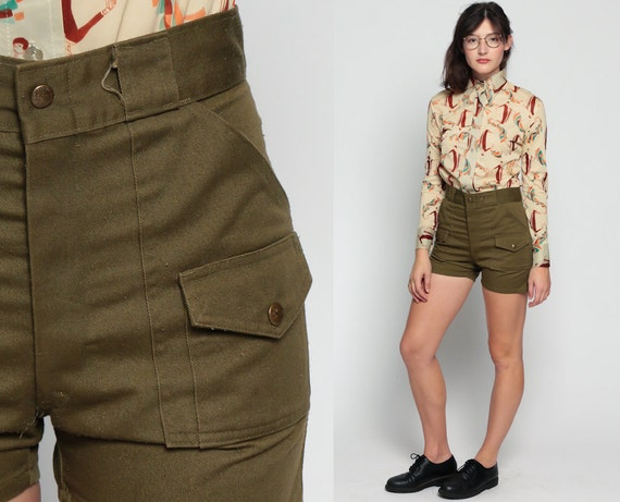 70s Shorts Army Cargo Boy Scout Shorts 80s High Waisted