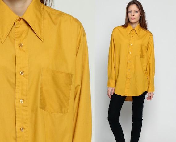 70s Shirt Oxford Shirt Mustard Shirt Button Up Yellow Blouse