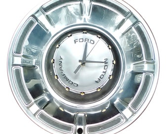 Ford Hubcap Clock, 1970s, Motor Company with dots for numbers  (recycled clock)