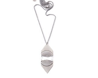 """Eye-catching sterling silver pendant constructed of two mirrored geometric shapes with intricately embossed pattern - """"Freya Necklace"""""""