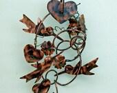 Hummingbird Decor / Bird Art / Plant Hanger / Garden Art / Metal / Yard Art / Copper Garden Art / Outdoor Home Decor / Sculpture / Handmade