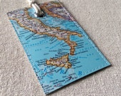 Italy luggage tag made with original map