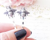 Ox Silver Bumble Bee Hair Pins - Bumble Bee Bobby Pins - Bumblebee - Woodland - Nature Wedding Hair - Insect - Fly - Moth - Bee