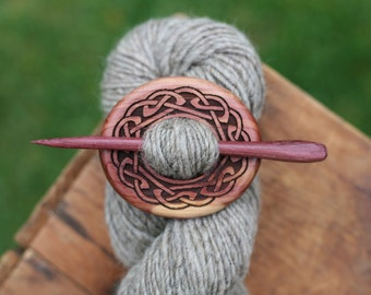 Celtic Red Cedar Shawl Pin - Handmade Wooden Shawl Pin in Red Cedar Wood - Eco Knitting Supplies