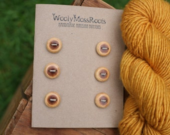 6 Yew Wood Buttons- Handmade Wooden Button in Reclaimed Maple- Knitting, Sewing, Craft Buttons