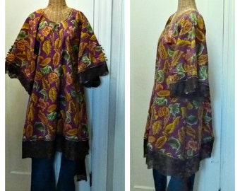Boheme Leaf Blouse Tunic Piko Top Medium, Large, 1X Lagenlook Dream Collection Art to Wear Tribal Boho Womens Cotton