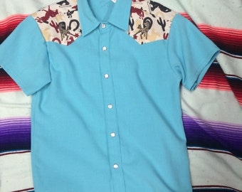 Size 8 kids teal and rodeo prinf embroidered horse short sleeve western shirt