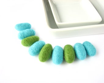 SALE 9 felted wool pebbles / beads (turquoise, green). Wool beads, wool ornaments, felt decorations, baby mobile cloud drops, woodland
