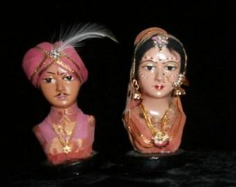 Head Bust  Indian Bust - Bride & Groom -Ornate Busts - 3-D ART Beautiful!!! Wall Hangings