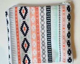Mint green and coral aztec Wet bag/Snack bag with waterproof lining