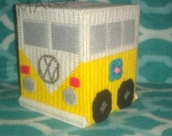 Handmade Yellow VW Van Tissue Box Cover Plastic Canvas