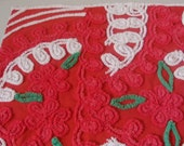 Red and White Plush Vintage Chenille Bedspread Fabric 19 x 24 Inches