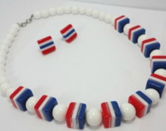 Vintage Laminated Lucite Patriotic Red, White and Blue Necklace & Earrings