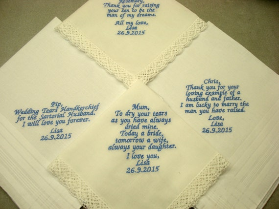 Wedding handkerchiefs machine embroidered set by
