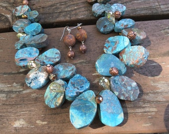 Blue Calsilica Jasper with Tribal Beads, Copper Beads and Crystals Necklace and Earrings
