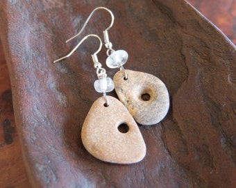 Natural organic earrings, quartz crystals, hag stones - stones with natural hole - handmade in Australia. Water element jewellery