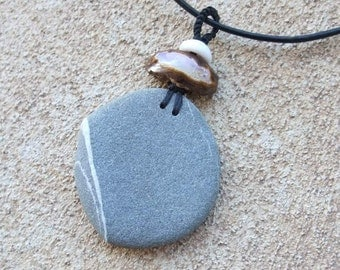 Granite & Boulder Opal, shell circle pendant necklace - natural jewelry handmade in Australia