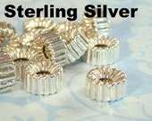 6 Solid Sterling Silver Beads 5mm Rondelle Spacer Disc Round Donut Beads Ribbed Corrugated Jewelry Supplies 5mm x 2.5mm Wide x 2mm Hole