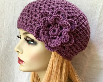 SALE Crochet Womens Hat, Purple Beanie, Flower, Birthday Gifts for Her JE411BF2