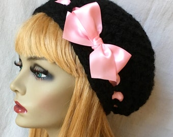 Black Slouchy Beret, Womens Hat, Chunky, Satin Pink Ribbon, Hope for Cancer, Teens, City Hat, Birthday Gifts, Gifts for Her, JE410BESR2