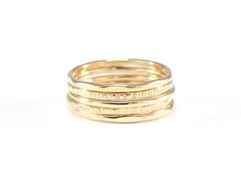 gold hammered skinny stacking rings | set of five skinny rings | gold hammered ring set