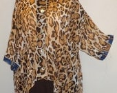 Coco and Juan, Plus Size Top, Lagenlook, Wild Leopard Print High Low, Shirt Jacket OS 1X 2X 3X Bust to 64 inches