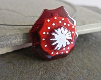 Fused Glass Pendant Choker, Necklace, Red, Silver Leaf, Valentine's Day