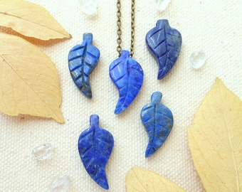 Lapis lazuli necklace mothers day gift leaf necklace genuine lapis lazuli third eye chakra carved cobalt blue gemstone