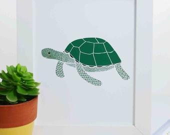Sea Turtle Art Print, Turtle Illustration, Nautical Art Print, Nursery Decor, Sea Creature Art Print, Ocean Art, Under the Sea Art Print