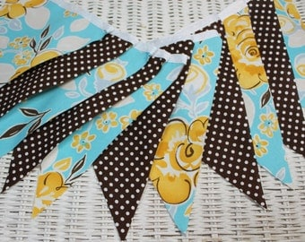 Free USA Shipping/Blue and Brown Fabric Banner/Fabric Garland/Wedding Banner/Photo Prop/Fabric Banner/Nursery Banner/Party Banner/Banner