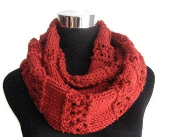 Cowl Scarf, The Stacey Scarf, Redwood Heather Lace Striped Infinity Scarf, Red Knit Circle Scarf, Vegan Knit, Scarf Infinity Cowl