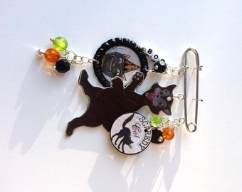 Black Cat Halloween Brooch Pin Scaredy Black Cat Mixed Media Jewelry Vintage Whimsical Jewelry OOAK