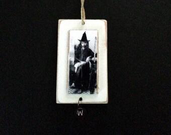 Halloween Witch Ornament Vintage Photo Primitive