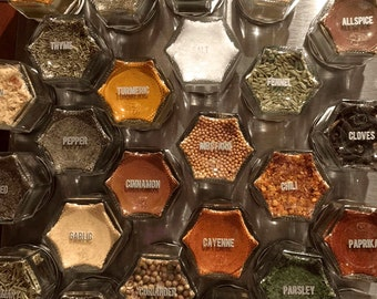 "SPICE JAR LABELS. Clear 1"" Round Stickers of the Most Common Spice Names. Choose Black or Silver/White Type."